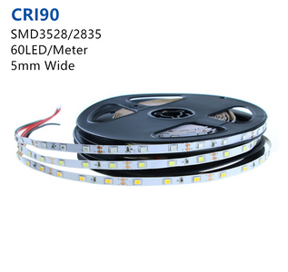 High CRI > 90 Super Slim DC 12V SMD3528-300 Flexible LED Strips 60 LEDs Per Meter 5mm Width 300lm Per Meter