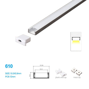 5/10/25/50 Pack 15.5MM*5.9MM Surface Mounted LED Aluminum Profile with Flat over,End Caps and Mounting Clips for LED Rigid Strip Lighting System