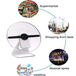 Free Shiping 30cm 3D Hologram Fan Unique Design with Patent, Battery Powered Holograma Advertising Logo Projector LED Fan Display