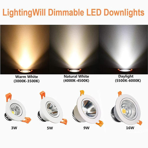 Image of LED Downlight 3W Dimmable CRI80 COB Directional Recessed Ceiling Light Cut-out 2in (51mm) 60 Beam Angle 25W Halogen Bulbs Equivalent