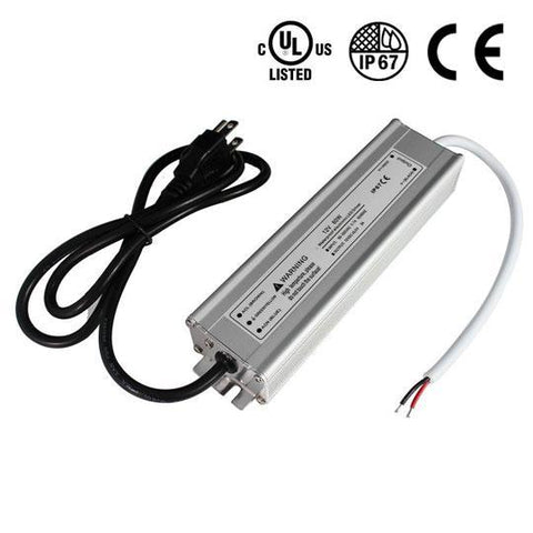 Image of Waterproof IP67 LED Power Supply Driver Transformer  110V AC to 12V DC Low Voltage Output with 3-Prong Plug 3.3 Feet Cable for Outdoor Use