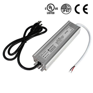 Waterproof IP67 LED Power Supply Driver Transformer  110V AC to 12V DC Low Voltage Output with 3-Prong Plug 3.3 Feet Cable for Outdoor Use