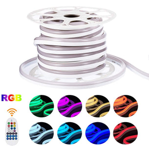 AC 110V / 220V IP65 High Voltage RGB Color Changing Neon Strip Light with the power plug