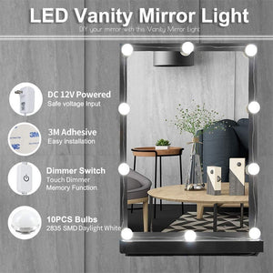 Hollywood Style Vanity Mirror Lights, 10 Vanity Makeup LED Light Bulbs in Small Size with Dimmable Touch Sensor for Makeup Mirror