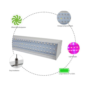 40W 16'' Full Spectrum Linear LED Grow Light Strip 6 Bands with IR & UV included, Adjustable Hanger, Idea for Greenhouse, Vegetables & Fruits, Horticulture, Propagation and City Farming
