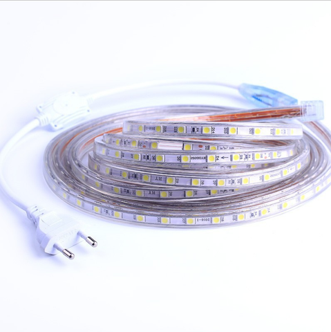 Image of AC 110V / 220V SMD5050 High Voltage Flat Strip Light 60 LEDs Per Meter 12mm Width with Wall Outlet Power Plug