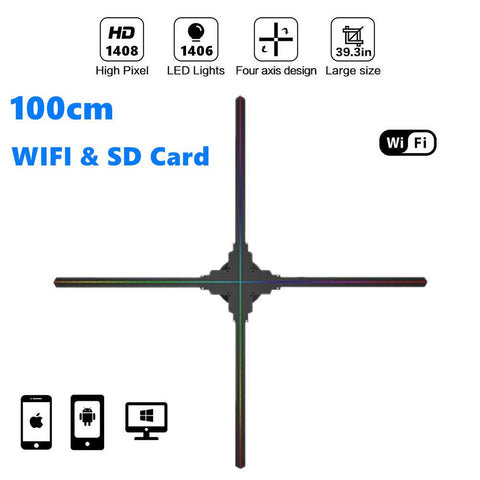 Image of Free Shipping 100cm 3D Hologram WiFi App Control Advertising Display LED Fan- 4 Blades 1408 HD Resolution Ideal for Store/Casino/Restaurant/Bar Signs