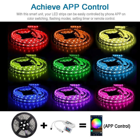 Image of WiFi IP65 Waterproof LED Light Strip Music Sync Remote Controlled by Alexa Echo Android ISO Smart Phone 16.4ft Cuttable 12V RGB 300LED SMD5050 Strip with 24 Keys Controller & 8Amp 96W Power Supply