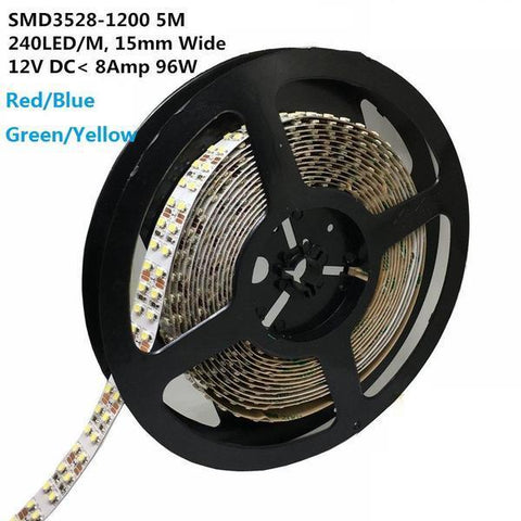 Image of DC 12V Red/Blue/Green/Yellow Dimmable SMD3528-1200 Double Row Flexible LED Strips 240 LEDs Per Meter 15mm Width 1200lm Per Meter