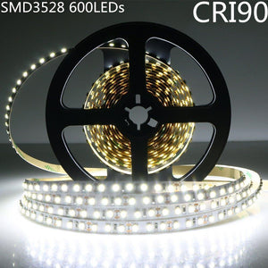 High CRI > 90 DC 12V SMD3528-600 Flexible LED Strips 120 LEDs Per Meter 8mm Width 600lm Per Meter