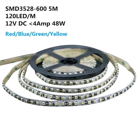 Image of DC 12V Red/Blue/Green/Yellow Dimmable SMD3528-600 Flexible LED Strips 120 LEDs Per Meter 8mm Width 600lm Per Meter
