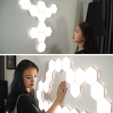 Image of Free Shipping 6 Pack Hexagonal LED Wall Light, DIY Modular Touch Sensitive Lights LED Night Light for Home Decor, Gifts