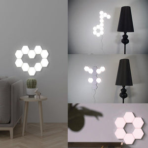 Free Shipping 6 Pack Hexagonal LED Wall Light, DIY Modular Touch Sensitive Lights LED Night Light for Home Decor, Gifts