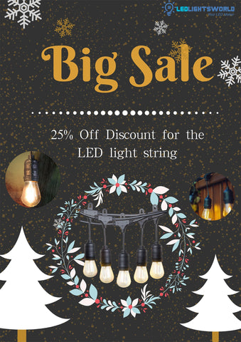 Image of Dimmable Waterproof LED Outdoor String Lights - Hanging, 2W Edison Bulbs - 48Ft Commercial Lights for Decor for Patio, Backyard, Garden, Bistro S14 Black - Warm White, with Dimmer, Complete Led String Lights Kit(2Pack-48FT And 1pcs Dimmer)