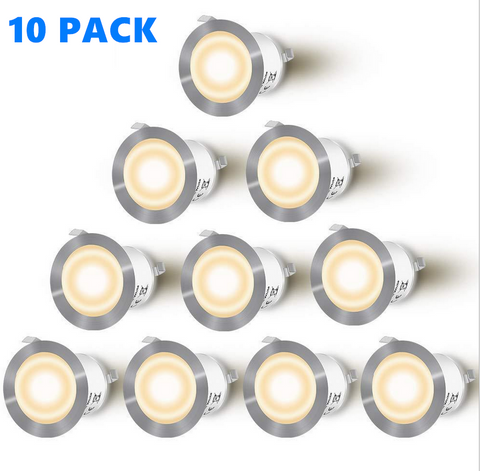 10 Pack Outdoor Recessed LED Deck Lights Kits IP67 Waterproof Inground LED Step Lights Kit for Garden, Yard, Steps, Bath Room and Kitchen