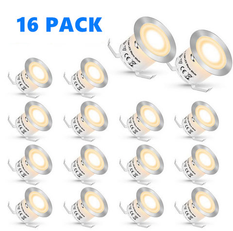 Image of 16 Pack Outdoor Recessed LED Deck Lights Kits IP67 Waterproof Inground LED Step Lights Kit for Garden, Yard, Steps, Bath Room and Kitchen