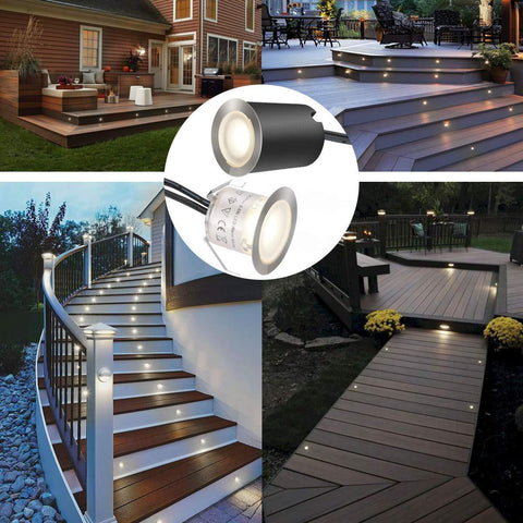 Image of 16 Pack Outdoor Recessed LED Deck Lights Kits IP67 Waterproof with Black Protection Shell LED Step Lights Kit for Garden/Yard/Steps/Bath Room/Kitchen