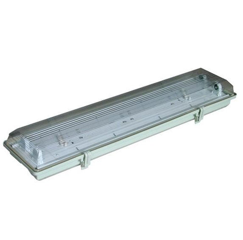 Image of Stripe Clear Cover T8 LED Tube Lights with Striped Clear Tri-proof T8 Tube Fixture for Double Tube