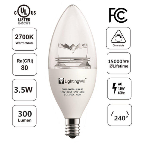 Image of UL CUL Approved 3.5W 300 Lumen LED Candle Light Bulb Dimmable 2700K Warm White Color in E12 Edison Screw Base, 40 Watt Incandescent Lamp Equivalent