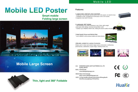 EP-M Series 2SQM Kit Indoor 3.9mm Foldable Mobile LED Poster Remote Controlled LED Display Screen in Moveable Airflight Case