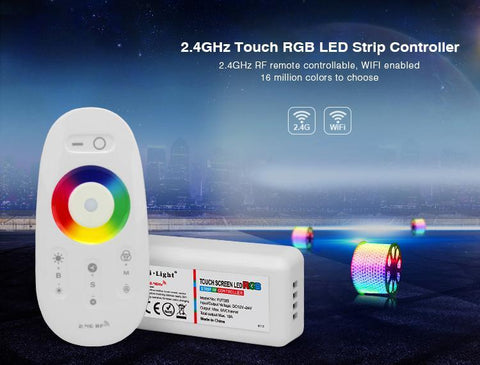 Image of 12V-24V DC 2.4G RF Wireless RGB LED Controller for RGB LED Strips with Touch Color Ring Remote