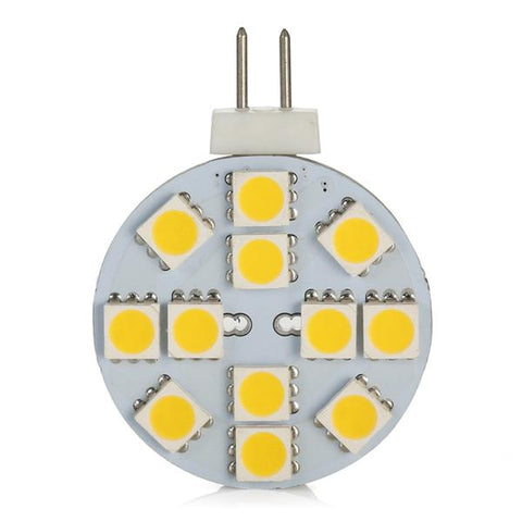 Image of 4 Pack 2.2 Watt (25 Watt Equivalent) DC12V Flat Round Wafer Disc Light Bulb G4 Bi-pin base Lamps with 12 pcs Tri-Chip LED SMD5050