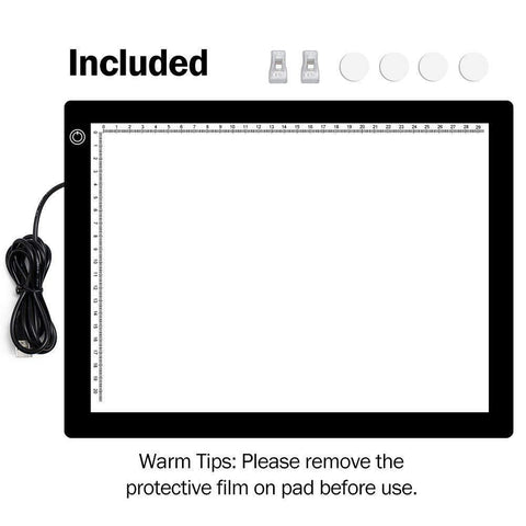 Image of A4 LED Light Pad, Ultra Thin Portable LED Light Tracer, Full Range Dimmable with USB Power Cable