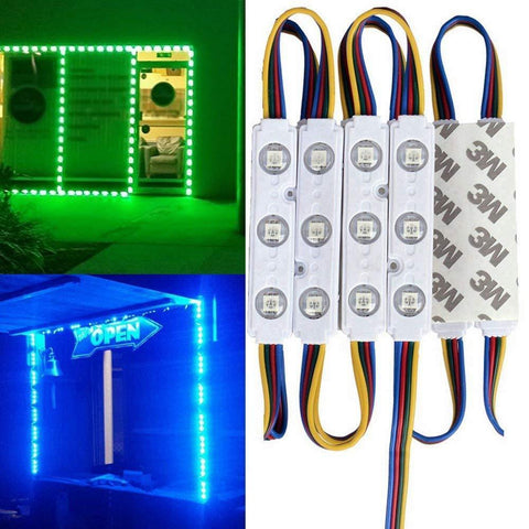 Image of 20pcs/pack RGB Color Changing 5050 3 LED Light Module 12V 160° Beam Waterproof IP67 for Outdoor Led StoreFront Signage Lighting