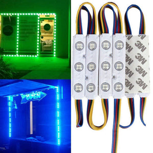 20pcs/pack RGB Color Changing 5050 3 LED Light Module 12V 160° Beam Waterproof IP67 for Outdoor Led StoreFront Signage Lighting