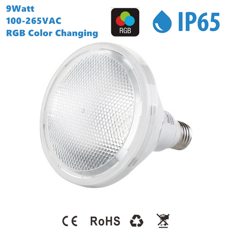 Image of Outdoor PAR38 LED Light Bulb 9W RGB Color Changing Light 60-degree Beam E27/E26 AC100-265V Non-Dimmable Waterproof IP65 Par Light