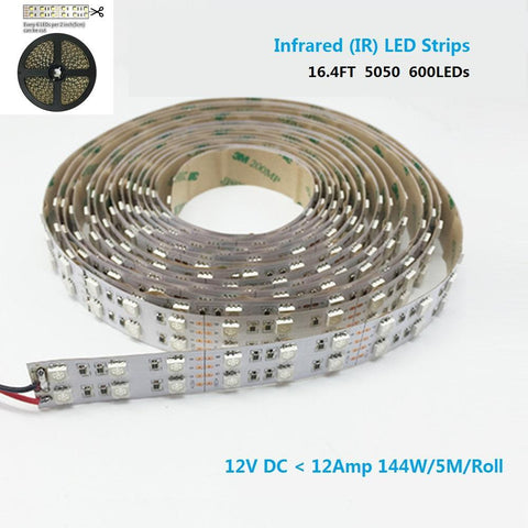 Image of DC12V SMD5050-600-IR InfraRed (850nm/940nm) Tri-Chip Double Row Flexible LED Strips 120LEDs 28.8W Per Meter