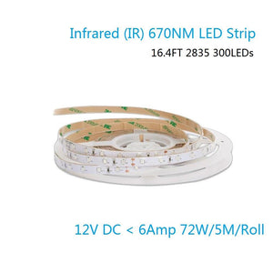 DC 12V Dimmable 670NM Red SMD2835-300 Flexible LED Strips 60 LEDs Per Meter 8mm Width 12W Per Meter