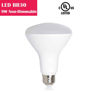 LED BR30 9W 650LM 65W Equivalent CRI 80 Non-dimmable AC 100-130V LED Light Bulb