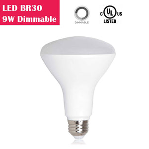 LED BR30 9W 650LM 65W Equivalent CRI 80 Dimmable AC 100-130V LED Light Bulb