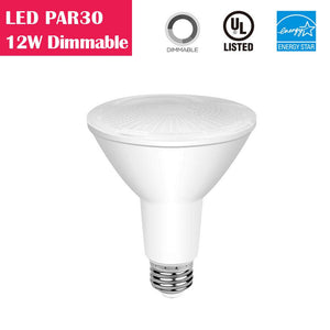 LED PAR30 Long-neck 12W 75W-equivalent CRI80 840LM 40° Dimmable AC100-130V LED Light Bulb