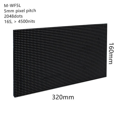 Image of New Generation M-WF5L P5 (5mm) Outdoor Waterproof LED Module, 5mm Pixel Pitch Full RGB LED Panel Screen in 320* 160 mm with 2048 dots, 1/16 Scan, 4500 Nits For Outdoor Display