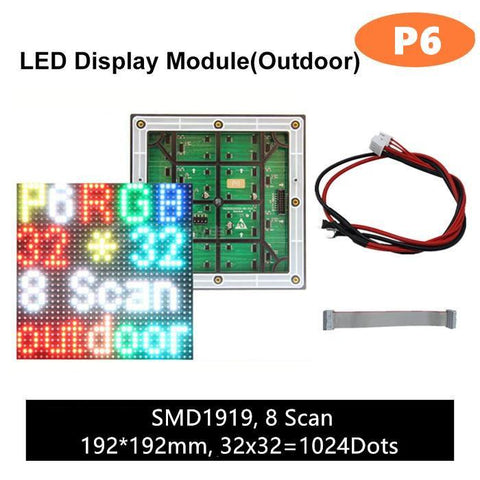 Image of M-OD6 P6 Normal Outdoor Series LED Module, Full RGB 6mm Pixel Pitch LED Tile in 192*192mmwith 1024 dots, 1/8 Scan, 5000 Nits for Outdoor Display