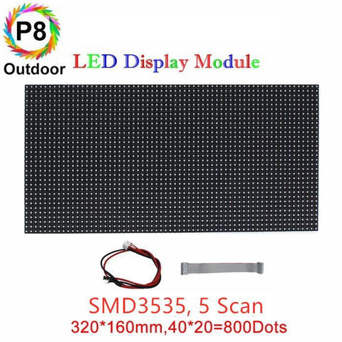 Image of M-OD8L P8 Normal Outdoor LED Module, Full RGB 8mm Pixel Pitch LED Tile in 320*160mm with 800 dots, 1/4 Scan, 5000 Nits for Outdoor Display