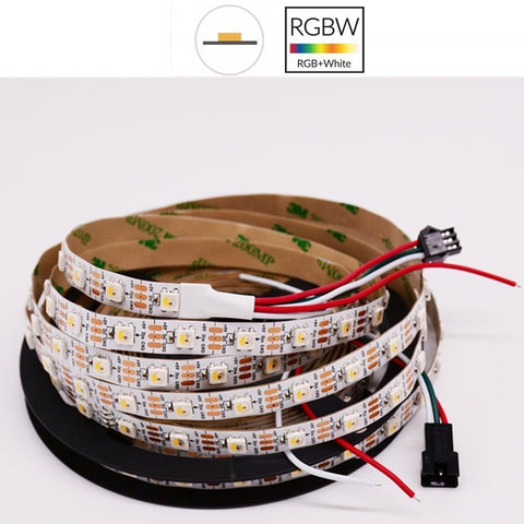 Image of DC 5V SK6812 Individually Addressable LED Strip Light 5050 RGBW 16.4 Feet (500cm) 60LED/Meter LED Pixel Flexible Tape White PCB