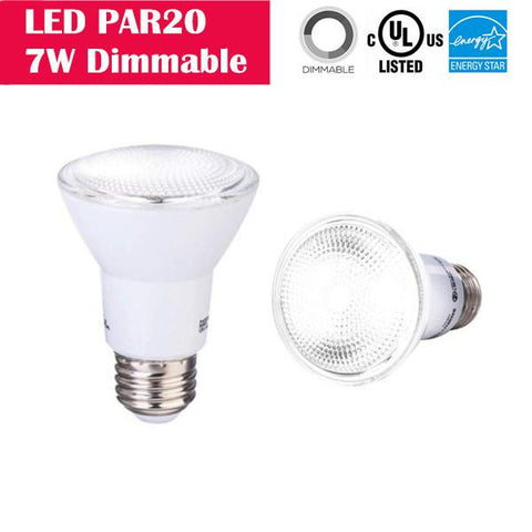 Image of LED PAR20 7W 50W-equivalent CRI80 500LM 40° Beam Dimmable 100-130V AC LED Light Bulb
