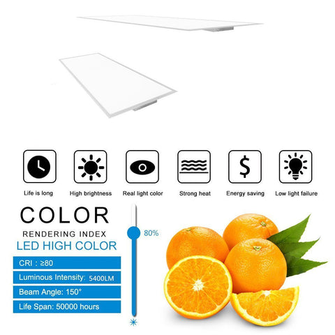 2'x4' (595x1195mm) 60W LED Panel Light in 0.39'' (10mm) Thick White Trim Flat Sheet Panel Lighting Board Super Bright Ultra Thin Glare-Free
