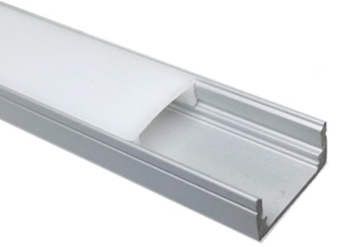 Image of 5/10/25/50 Pack Silver U02 9x17mm U-Shape Internal Profile Width 12mm LED Aluminum Channel System with Cover, End Caps and Mounting Clips for LED Strip Light Installations