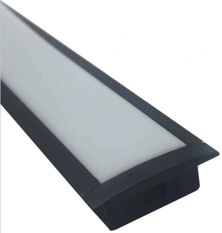 Image of 5/10/25/50 Pack Black U03 10x30mm U-Shape Internal Width 20mm LED Aluminum Channel System with Cover, End Caps and Mounting Clips Aluminum Profile for LED Strip Light Installations