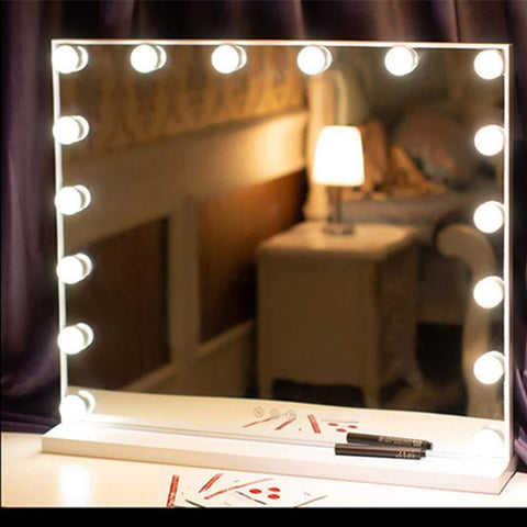 Image of Hollywood Style Vanity Mirror Lights, 10 Vanity Makeup LED Light Bulbs in Small Size with Dimmable Touch Sensor for Makeup Mirror