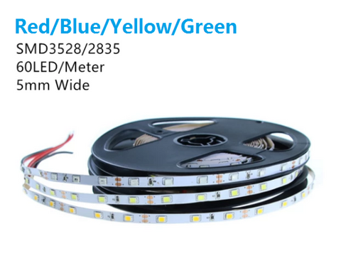 Image of Red/Blue/Greem/Yellow Color Super Slim 5mm Wide White FPCB Background DC 12V Dimmable SMD3528-300 Flexible LED Strips 300 lm Per Meter