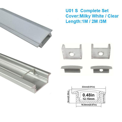 Image of 5/10/25/50 Pack Silver U01 9x23mm U-Shape Internal Profile Width 12mm LED Aluminum Channel System with Cover, End Caps and Mounting Clips for LED Strip Light Installations