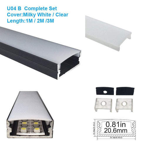 Image of 5/10/25/50 Pack Black U04 10x23mm U-Shape Internal Width 20mm LED Aluminum Channel System with Cover, End Caps and Mounting Clips Aluminum Extrusion for LED Strip Light Installations