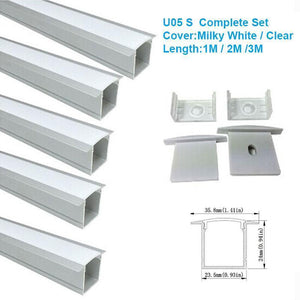 5/10/25/50 Pack Silver U05 36x24mm U-Shape Internal Width 20mm LED Aluminum Channel System with Cover, End Caps and Mounting Clips Aluminum Profile for LED Strip Light Installations