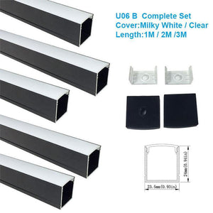 5/10/25/50 Pack Black U06 24x24mm Silver U Shape LED Aluminum Channel Internal width 20mm with White Diffuser Cover, End Caps and Mounting Clips for LED Strip Light Installations