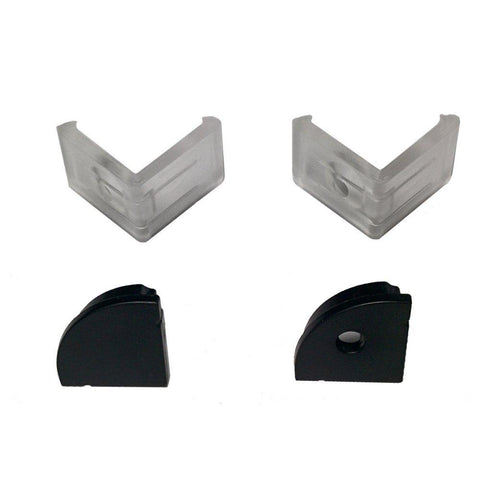 Image of 5/10/25/50 Pack Black V02 16x16mm V-Shape Curved Cover Channel Internal Width 12mm Corner Mounting LED Aluminum Channel with End Caps and Mounting Clips Aluminum Profile